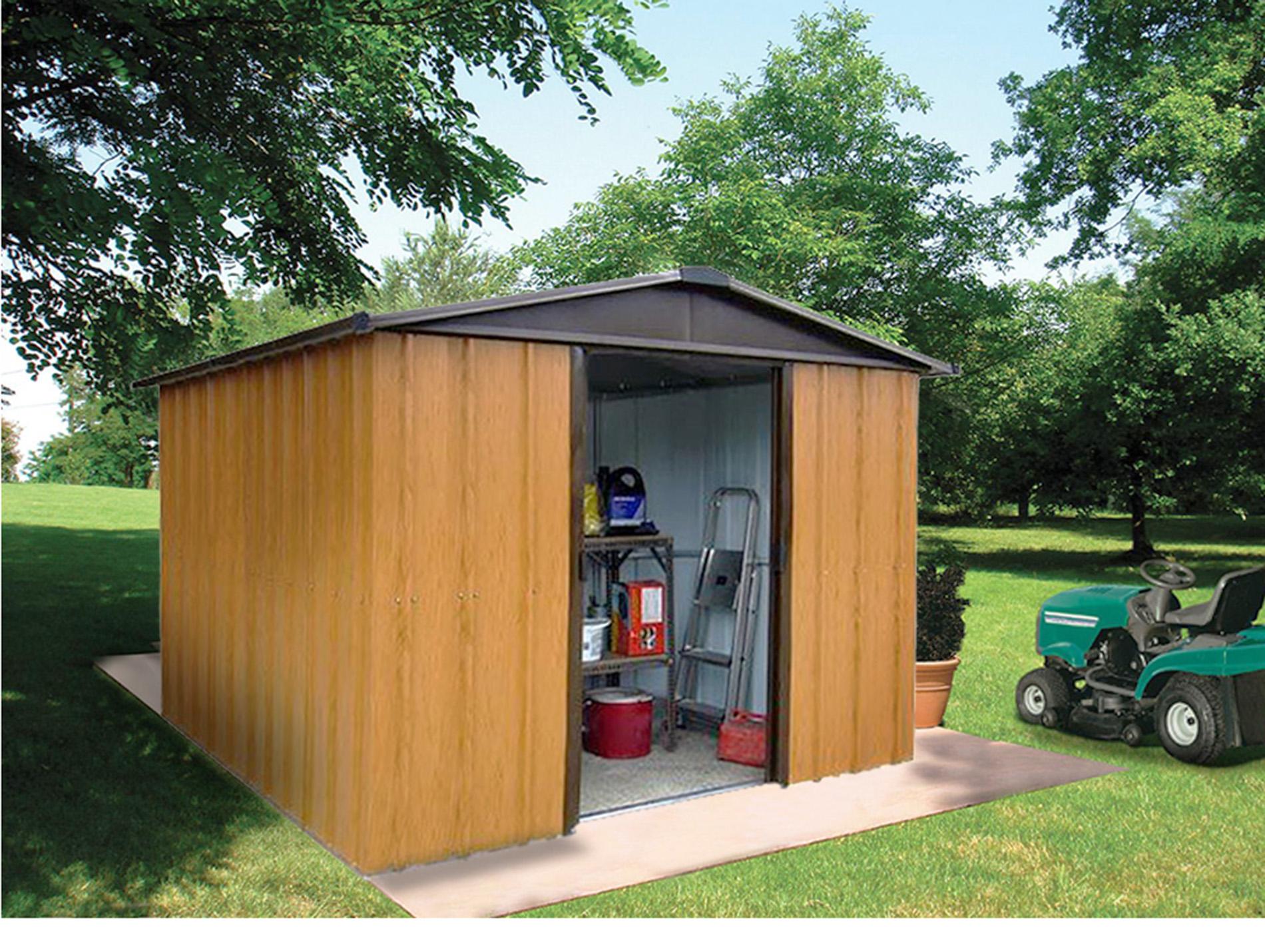 Abri de jardin m tal yardmaster aspect bois 9 03 m abris de jardin abris de jardin - Amenagement abri jardin ...