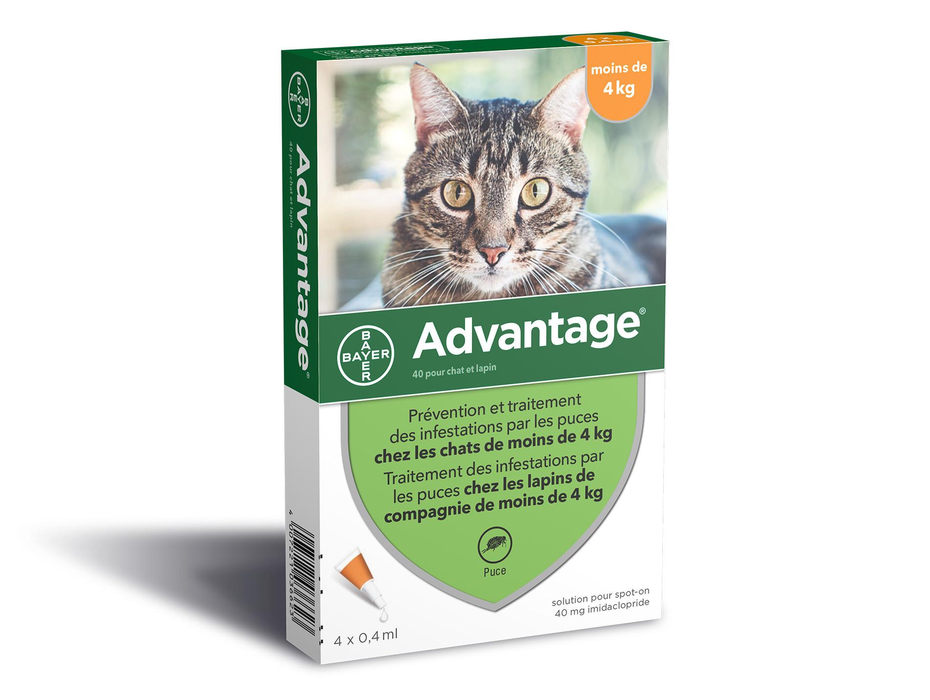 ADVANTAGE 40 anti-puces chat 0 à 4kg