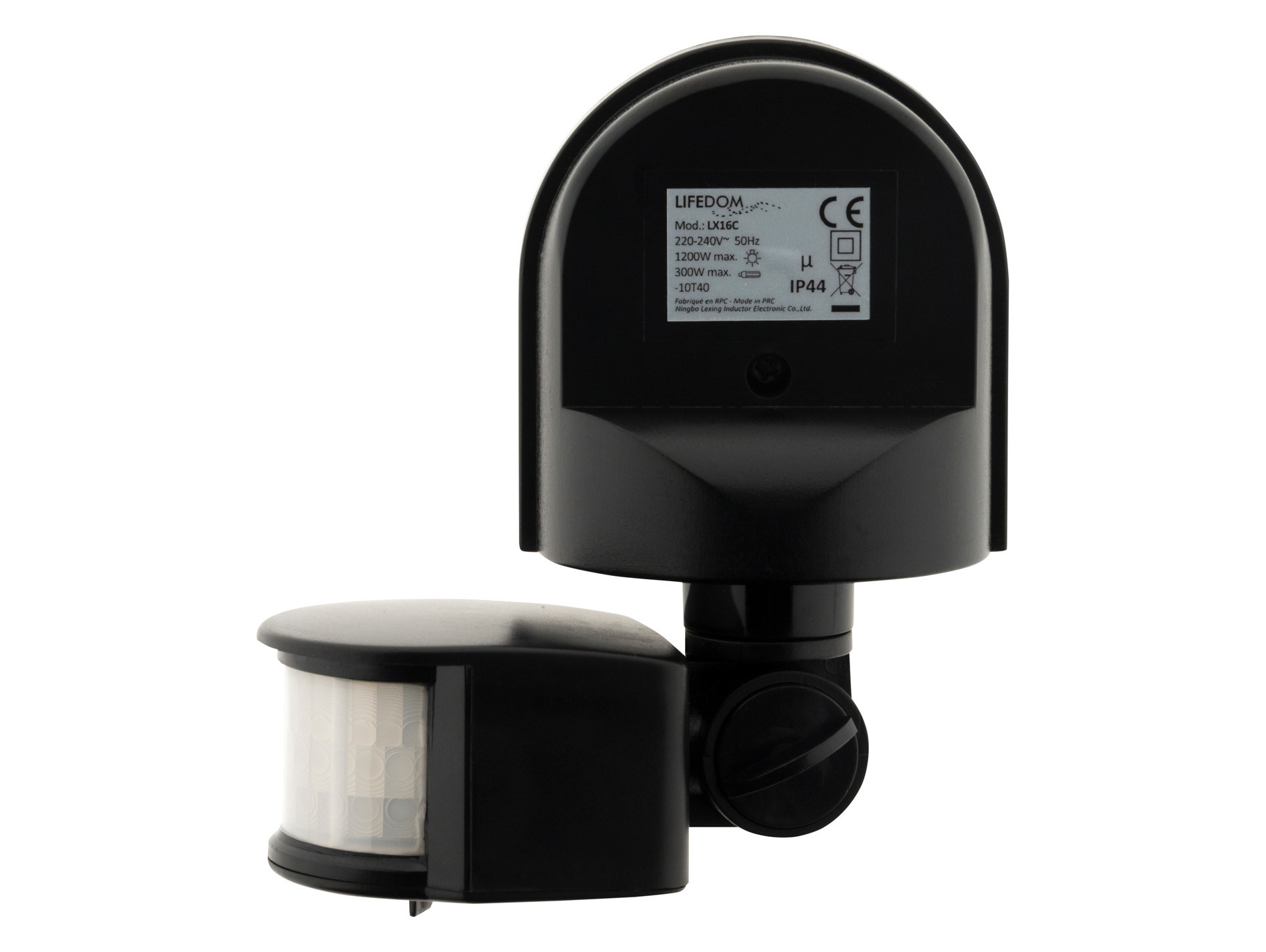 Détecteur de mouvement orientable 120° 500W noir