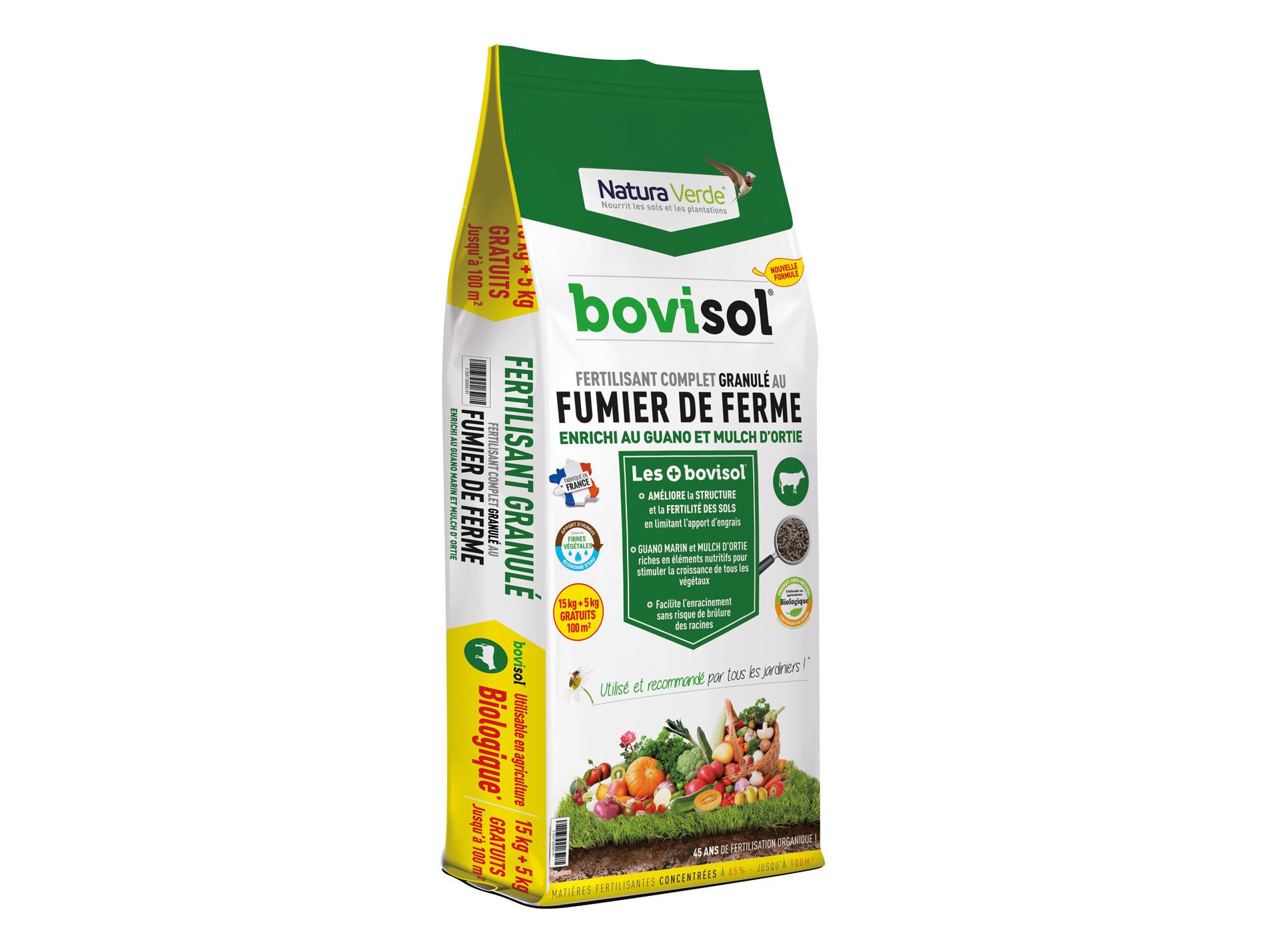 Fertilisant Bovisol 15 kg + 5 kg GRATUITS