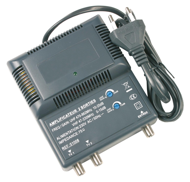Amplificateur d'intérieur blindé UHF/VHF 2 sorties