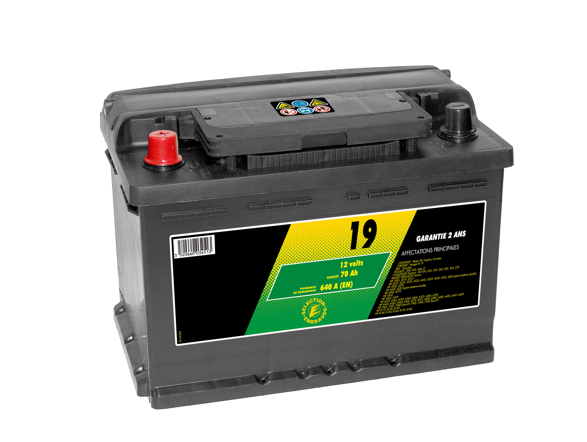 Batterie 12V N°19 Sélection Emeraude 70Ah 640A +G