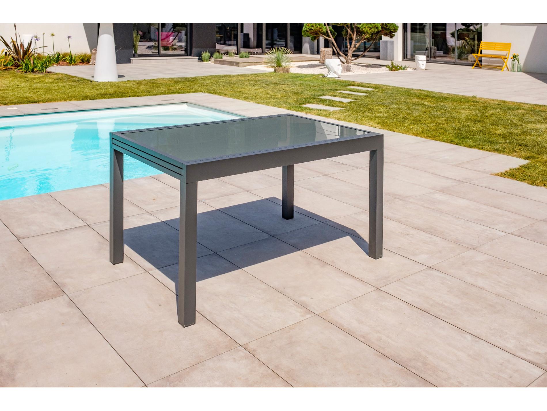 Table de jardin alu et verre 4/8 places Tolede Anthracite