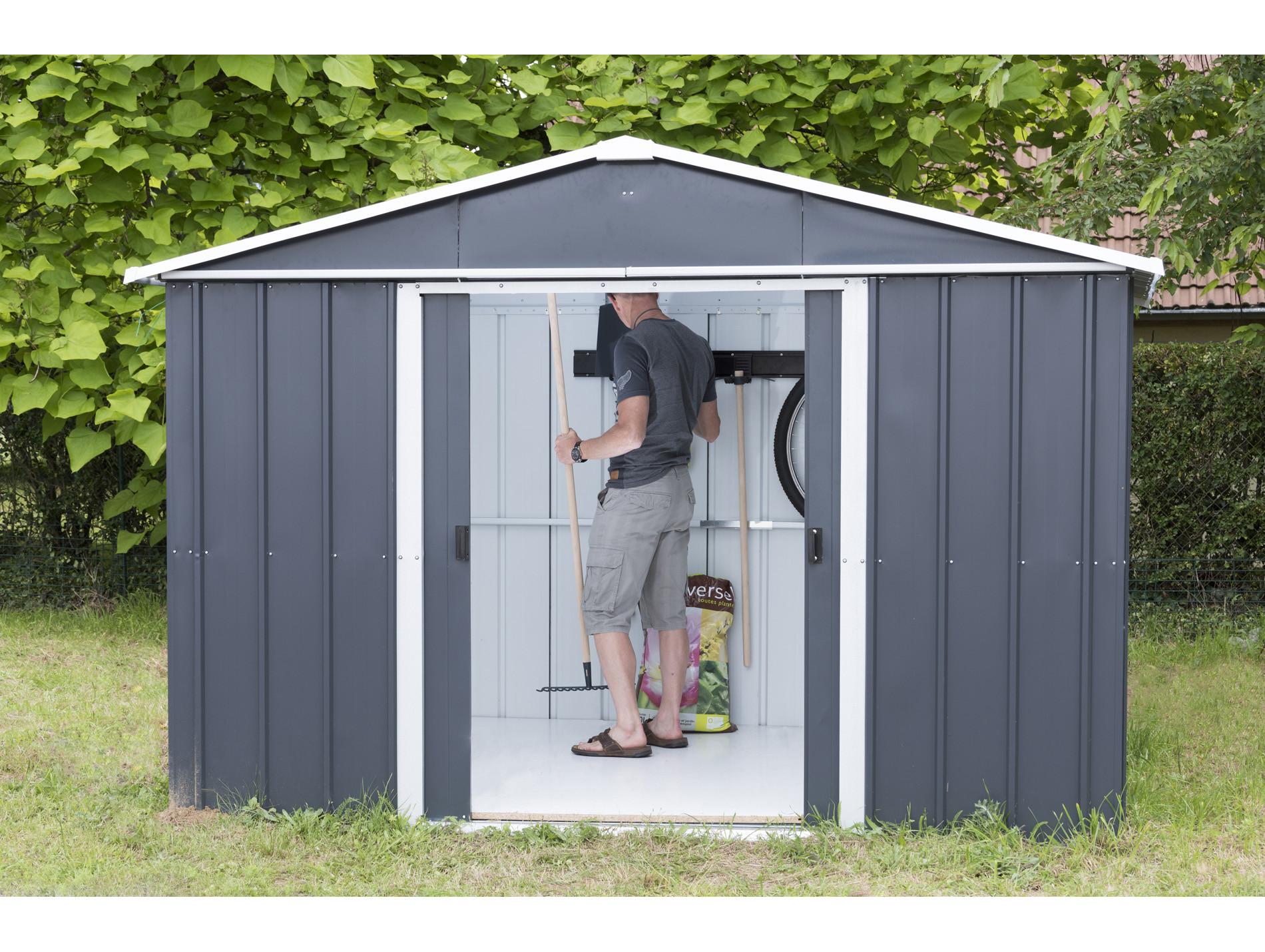 Abri De Jardin Composite abri de jardin métal yardmaster gris anthracite 7,18 m²