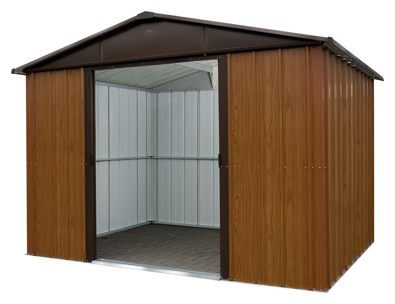 Abri de jardin métal Yardmaster aspect bois 12 m²