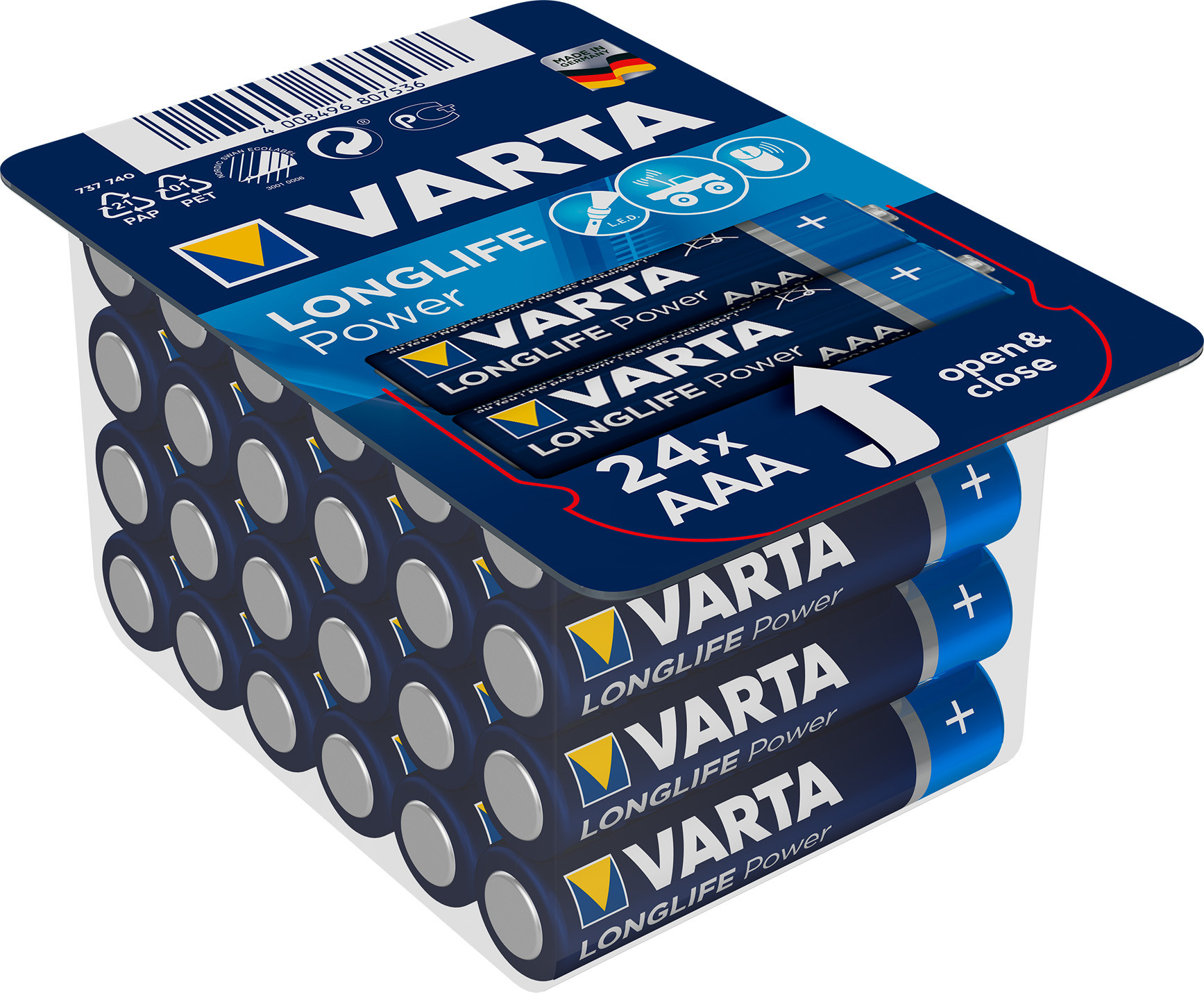 Piles alcalines VARTA Longlife Power LRO3 x 24
