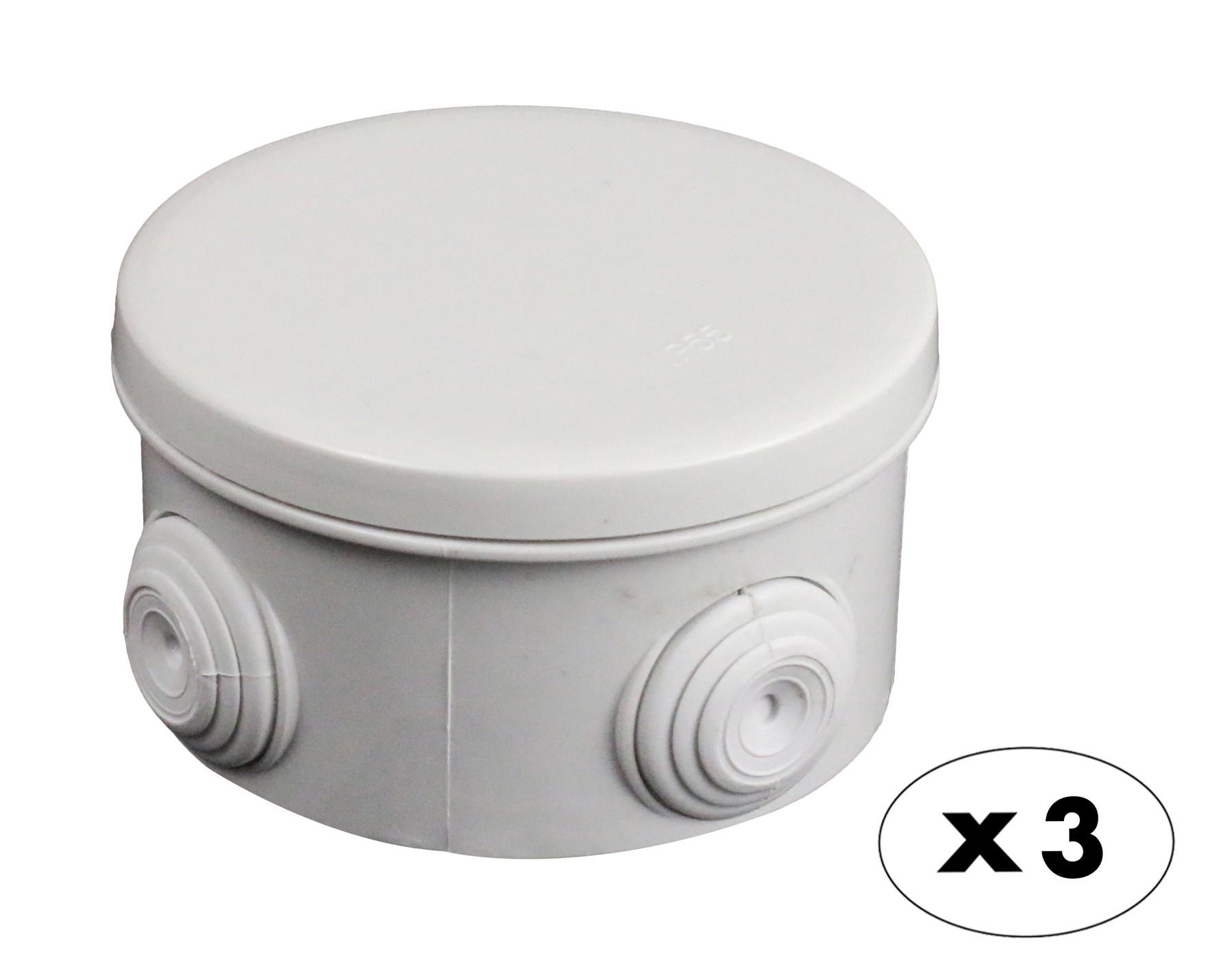 Boîte de dérivation étanche ronde Ø80 X3