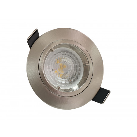 5 Spots Led encastrables fixes 380lm Ø85 acier brossé