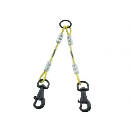 Accouple 2 chiens câble métal 25cm jaune