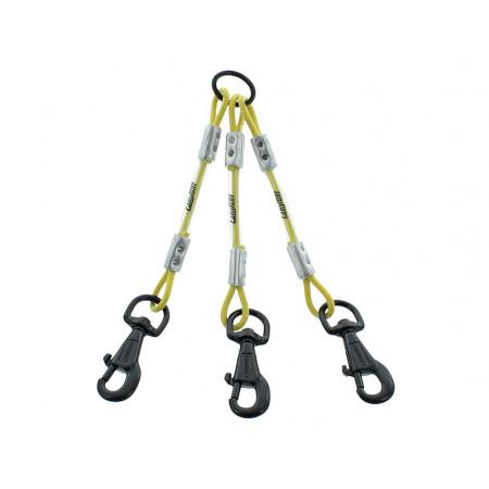 Accouple 3 chiens câble métal 25cm jaune
