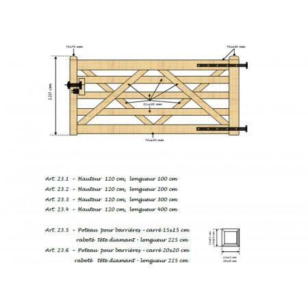 Barrière en bois 120x100cm type B