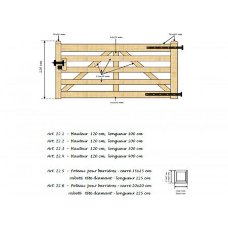 Barrière en bois 120x200cm type A