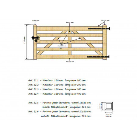 Barrière en bois 120x300cm type A