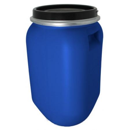 Fût de macération bleu 30 L avec couvercle et cerclage