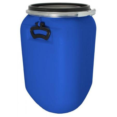 Fût de macération bleu 60 L avec couvercle et cerclage