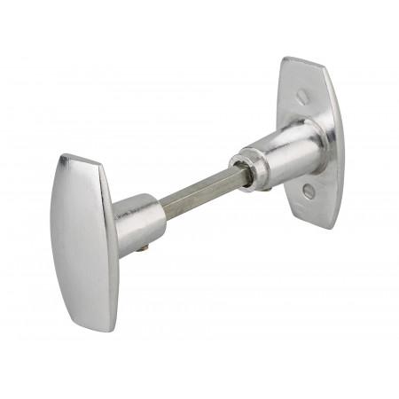 Bouton de porte double carré 6mm aluminium poli