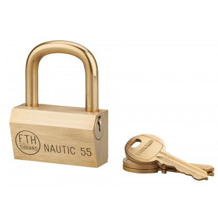 Cadenas à clé Nautic 68 55mm à anse laiton