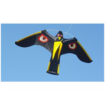 Cerf-volant effaroucheur noir motif oeil