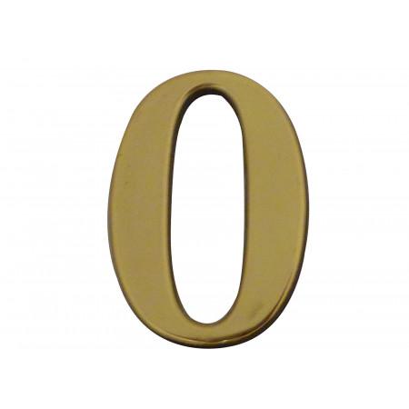 Chiffre adhésif plastique doré n°0 H.40mm