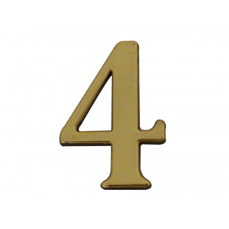 Chiffre adhésif plastique doré n°4 H.40mm