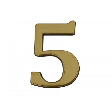 Chiffre adhésif plastique doré n°5 H.40mm