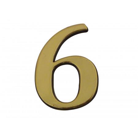 Chiffre adhésif plastique doré n°6 H.40mm