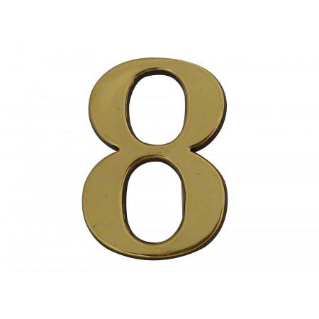 Chiffre adhésif plastique doré n°8 H.40mm