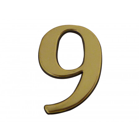 Chiffre adhésif plastique doré n°9 H.40mm