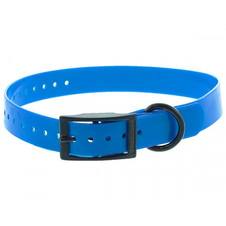 Collier chien polyuréthane boucle double 0,25x60cm bleu