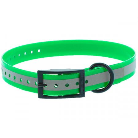 Collier chien polyuréthane boucle double 0,25x60cm vert