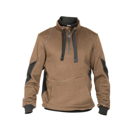 Sweat shirt zippé Stellar camel/gris