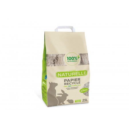 Litière naturelle papier recyclé Perlinette 25L