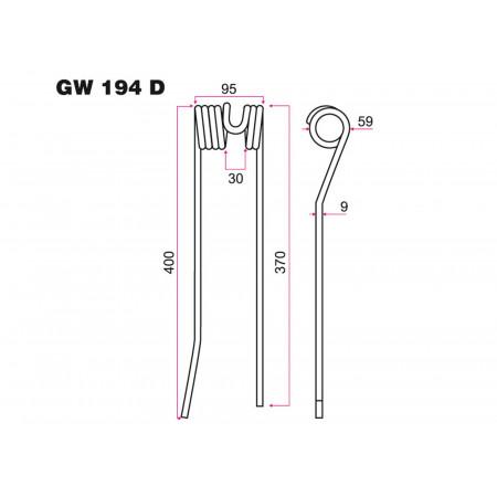 Dent combiné faneur-andaineur D FAHR GW 194