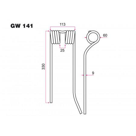 Dent faneur étroite G ZWEEGERS GW 141
