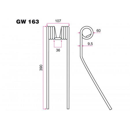 Dent faneur KUHN GW 163