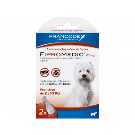 Anti puces et tiques petit chien FIPROMEDIC 2x0,67ml