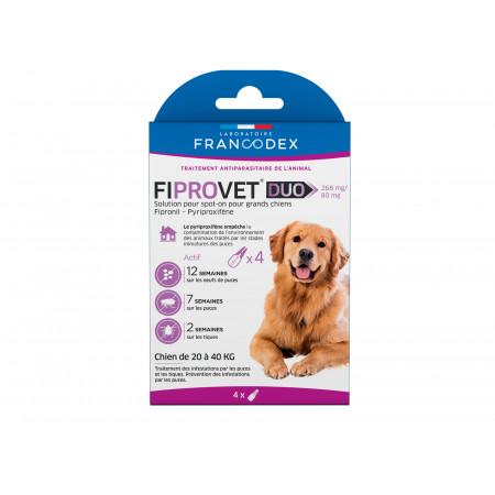 Anti puces et tiques grand chien FIPROVET x4