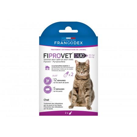 Anti-puces et tiques pour chat FIPROVET Duo x2