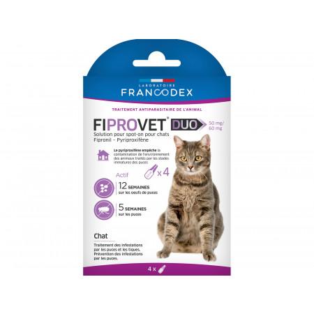 Anti-puces et tiques pour chat FIPROVET Duo x4