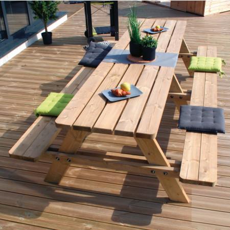 Table de pique nique en bois 6/8 places Matisse 3m