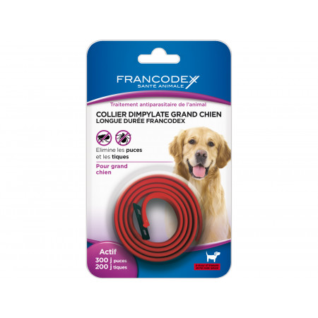 Collier antiparasitaire rouge pour grand chien