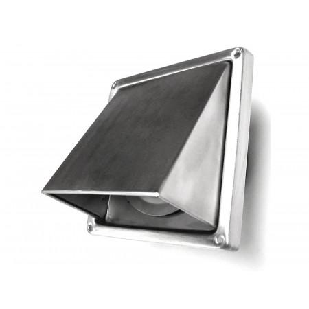Grille inox à clapet vent/pluie Ø125 185x185