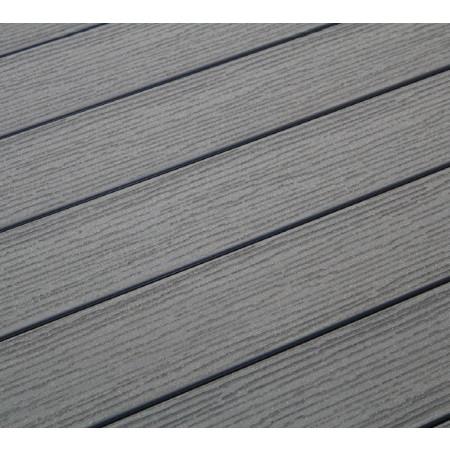 Lame de terrasse bois composite SYLWAY gravée brossée gris 3m