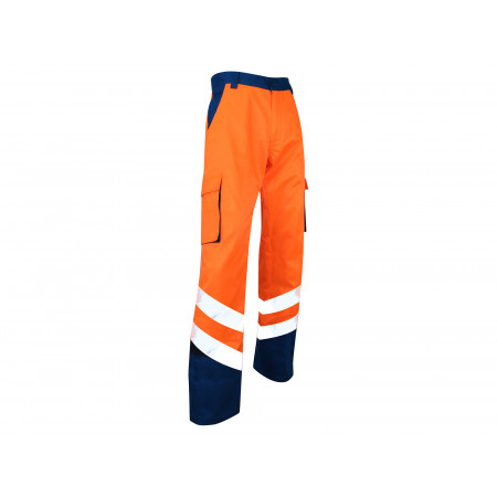 Pantalon haute visibilité orange fluo bleu