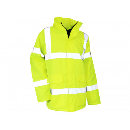 Parka haute visibilité imperméable coupe-vent jaune fluo