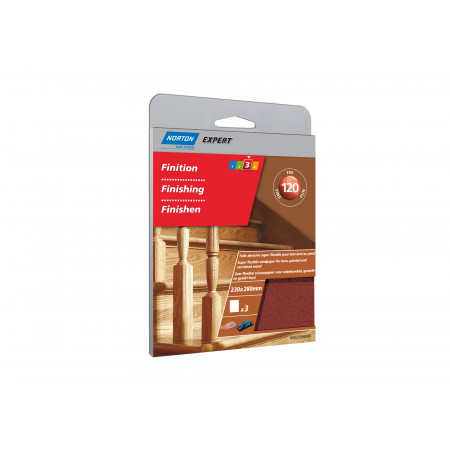 3 feuilles abrasives super flexibles 230x280mm grain 120