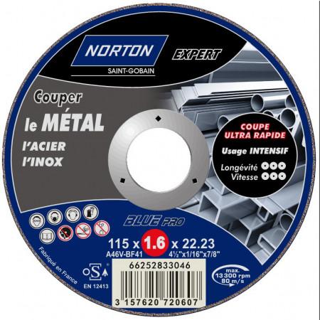 Disque à tronçonner plat Expert métaux Ø115 x1.6mm