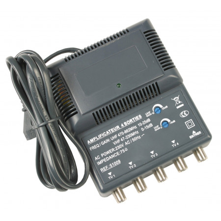 Amplificateur d'intérieur blindé UHF/VHF 4 sorties