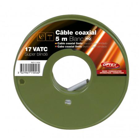 Câble coaxial TV/SAT 17 VATC blanc 5m