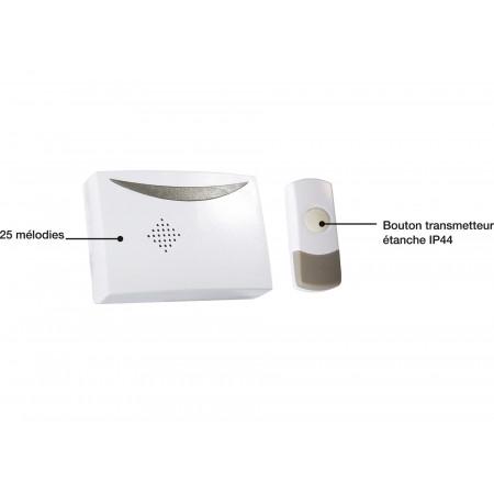 Carillon sans fil portée 100m blanc/gris